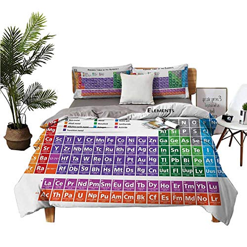4 Bedding Cover Set Sheets Full Set Bed Sheets Queen Periodic Table of Elements Design Colorful Checkered Squares Science Class Theme Multicolor Double-Bed Room W90 xL90
