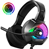 Casque Gaming, ONIKUMA Casque Ps4 avec Microphone Anti Bruit 4D Son Surround 7.1 Stéréo Arceau Réglable & Lumiere LED Casque Gamer Pour PlayStation/PC/Switch/Xbox/MAC/PSP