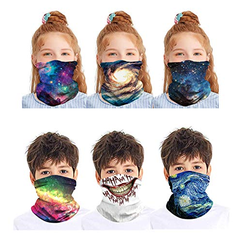 6Pcs Kids Galaxy Neck Gaiters Face Mask Bandanas Face Covering Scarf Balaclavas Headband for Children