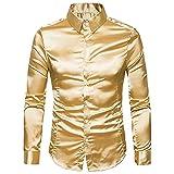 N\P Camisa de fiesta de los hombres de manga larga delgada camisa de color sólido brillante
