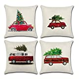 PSDWETS Christmas Decorations Christmas Tree Red Car Cotton Linen Throw Pillow Covers Set of 4 Cushion Cover 18 X...