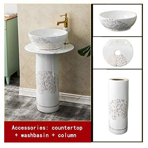 Great Price! Modern Bathroom Counter Bathroom Round Retro Washbasin Sink Ceramic Container Hotel Tem...