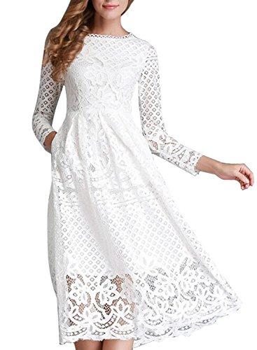 Minetom Damen Kleid Lange Ärmel Sommerkleid Spitze Elegant Abendkleid Partykleid Maxi Kleid Weiß DE 40