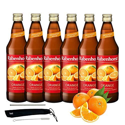 Rabenhorst Saft Orange 6x 700ml Vegan Orangensaft mit Fruchtfleisch - Direktsaft - Fruchtgehalt: 100% reich an Vitamin C PLUS fooodz-Trinkhalm Set mit Reinigungsbürste