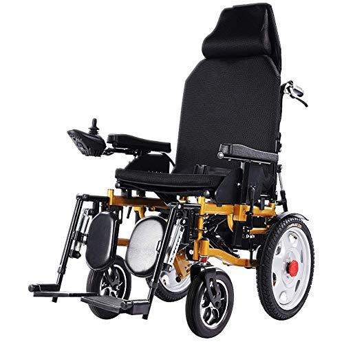 LYDIANZI Elektrische Rollstühle Wetterfest Portable Power Rollstuhl, Leicht, faltbar, Heavy Duty, Doppelbatterie, Dual-Motor Elektro-Rollstuhl kann flach liegen und bequem Elektronische Brems