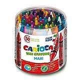 Carioca Pastelli Maxi Wax | Set Pastelli a Cera Lavabili con Corpo e Punta Maxi per Bambini, Colori Assortiti, 50 Pezzi