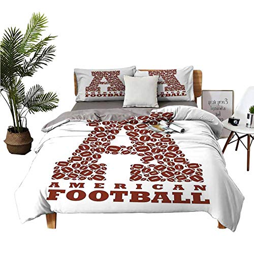 DRAGON VINES 4pcs Bedding Set Sheets Cotton Twin Size Bed First Letter of The Alphabet Shape with American Footballs Athletism Sports Brown and White Bed Sheets King Size Deep Pocket W104 xL90