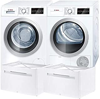 Bosch 500 Series White Front Load Compact Laundry Pair with WAT28401UC 24