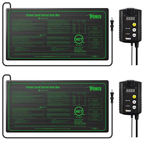 """iPower 2 Pack 10"""" x 20.5"""" Warm Hydroponic Seedling Heat Mat and Digital Thermostat Control Combo Set for Plant Germination, Black"""