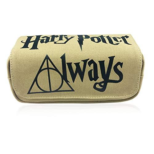 JPYH Harry Potter Estuche para Lápices, Portátil de Gran Capacidad, Caja de Almacenamiento de Papelería de Lona con 2 Neceser con Cremallera