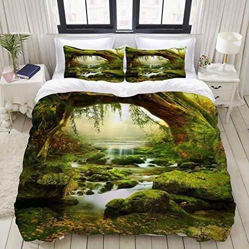 Dodunstyle Duvet Cover,Mysterious Green Jungle Trees Streams Rainforest Summer Nature Landscape Art,Bedding Set Ultra Comfy Lightweight Microfiber Sets