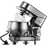 Stand Mixer AICOOK, Stainless Steel Mixer with Dough Hook, Mixing Beater, Wire Whip, Dishwasher-safe , 6-Speed Tilt-Head Kitchen Dough Mixers for Cake, 5.8 QT Electric Home Cooking Kitchen Mixer