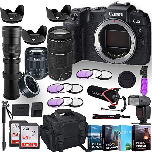 Canon EOS RP Mirrorless Digital Camera w/ 3 Lenses + Commlite Adapter Bundle (EF-S 18-55mm f/4-5.6 is STM Lens, EF 75-300mm f/4-5.6 III, 420-800mm Zoom Lens) with Pro Accessory Kit