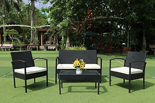 5665 Muebles Set Conjunto Jardín Patio Terraza Mesa con sillas Ratán Brisa