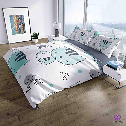 Flutterfly duvet cover king size superk duvet cover queen superk bedding set bed set queen housse de couette superking Cute Fashion Cat (1058-1203) design