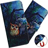 EMAXELER Galaxy A20 Case Cover Shockproof Stylish PU Leather Flip Folio Bookstyle Slim Wallet Protection Case Magnetic Stand Card Slot Case for Samsung Galaxy A30 / A20 TXC Oil Painting owl