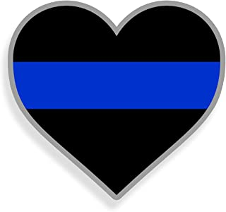 Blue Line Heart Sticker Show Support for Police on your Car Truck Laptop Graphic