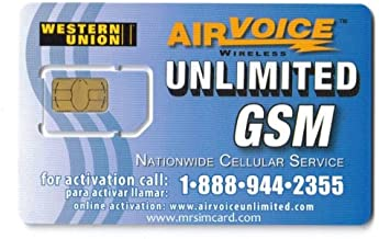 Airvoice Unlimited SIM Card Prepaid Uses At&t Network 4g