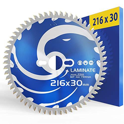 FALKENWALD Hoja de sierra 216 x 30 para madera - Ideal para laminados - Compatible con hoja de sierra Bosch 216, Metabo 216, KGS 216 M - Hoja de sierra circular 216 x 30 - Hoja de sierra 216 x 30