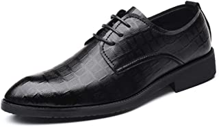 RongAi Chen Men's Business Oxford Casual Chic Classic Grid Pattern Low Top Formal Shoes (Color : Black, Size : 8.5 UK)