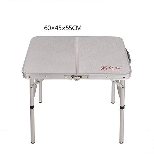 YH-HW Portable Pliable Table, Extérieur Léger Aluminium Siamois Valise Table de Pique-Nique Simple Accueil Patio Jardin Voyage Table de Camping-B-Blanc 60x45x55cm