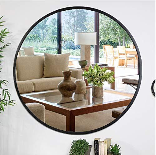 Kinger Home Black Round Mirror 24 Inch, Large Circle Vanity Mirror for -