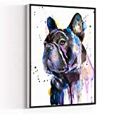 MODERN ARTWORK ,wall decor posters,living room decorations for wall ,room wall decor ,Black French Bulldog watercolor painting print, art, animal, illustration, home decor,16''x24'' Framed