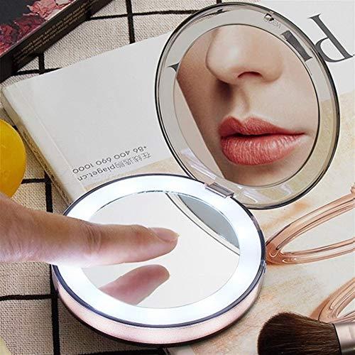 Yangxuelian Miroir de Maquillage Petit Rechargeable Pliant LED Miroir de Maquillage, Pocket Make Up Vanity Light Miroir Filles Femmes pour la Beauté Maquillage Voyage