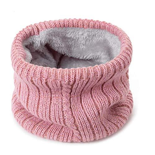 Bufanda cálida de invierno a la moda para mujer, bufandas de anillo de punto de color sólido, pañuelogrueso de punto cálido