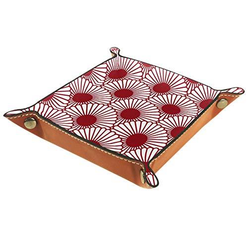 BestIdeas Cesta de almacenamiento cuadrada 20,5 x 20,5 cm, con flor redonda roja, caja organizadora sobre mesa para el hogar, oficina, dormitorio, Piel de microfibra., Flor Redonda Roja, Large