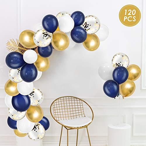 WD&CD Paquete de 120 globos de látex, Globos para fiestas para Cumpleaños, Paraaniversario, bodas - azul marino