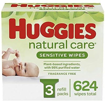HUGGIES Natural Care Baby Wipes, 3 Packs, 624 Total Wipes