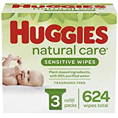 Contains 3 refill packs of 208 unscented baby wipes (624 wipes total) Pure & Gentle Wipes, Care Sensitive Wipes contain 99% purified water and 1% skin essential ingredients for a gentler clean Safe for Sensitive Skin – Hypoallergenic & dermatological...