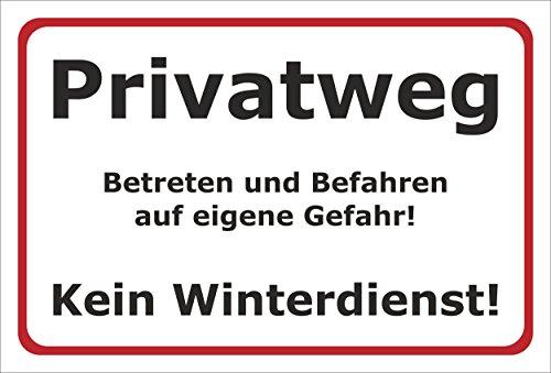 Melis Folienwerkstatt Schild Privatweg Kein Winterdienst - 30x20cm - Bohrlöcher - 3mm Aluverbund – 20 VAR S00018-001-B