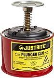 Justrite, 10008, Plunger Can, 1 Pt, Galvanized Steel, Red