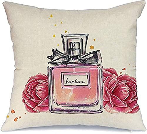 Funda de almohada decorativa de poliéster para sofá, botella de perfume en flores dibujadas, accesorio de acuarela para bosquejo vintage de belleza bonita funda de almohada cuadrada (45 x 45 cm)