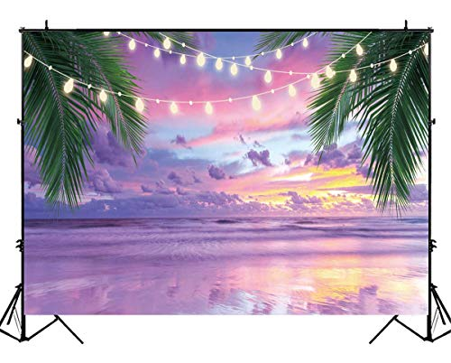 Funnytree 8X6FT Durable Fabric Summer Tropical Sea Beach Photography Backdrop Lavender Seaside Ocean Palm Background for Wedding Birthday Party Banner Baby Shower Photo Studio Photobooth Props