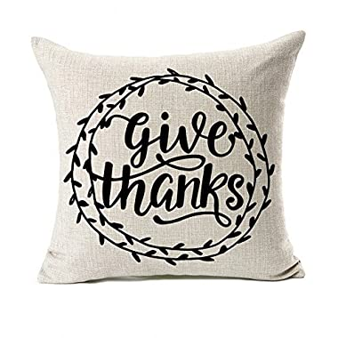 4TH Emotion Give Thanks Thanksgiving Day Home Decor Fall Throw Pillow Case Cushion Cover 18 x 18 inch Cotton Linen