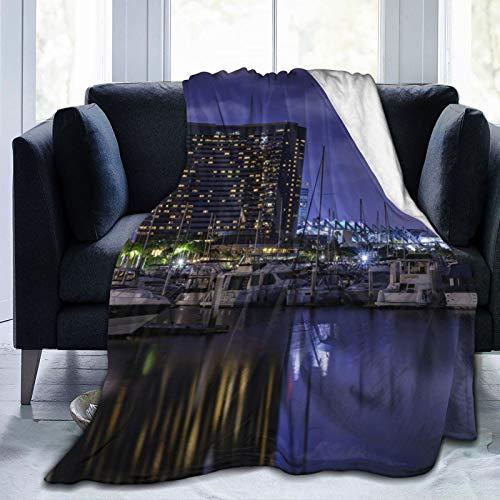 Affordable shop Fleecedecke, 127 x 152,4 cm, San Diego Kalifornien, San Diego Marina Park, Flanell-Fleece, weich, warm, Plüsch-Decke für Bett/Couch/Sofa/Büro/Camping