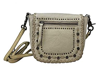 MMontana West Real Leather Messenger Purse Crossbody Purse Conchos Stitching Beige