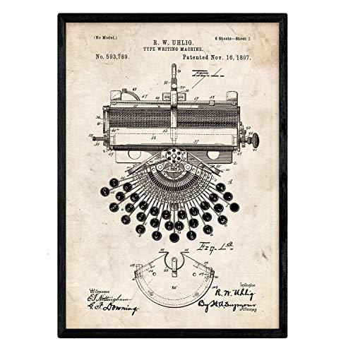 Nacnic Stampa artisticha su sfondo vintage brevetto Macchina da scrivere. progetto iniziale per scrittura con macchina. vecchi brevetti. oggetti d'antiquariato. macchinari d'epoca.