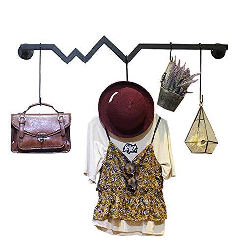 YLCJ Perchero Clothing Rollo Display Standfunctie, eenvoudige modern, Minimale Shelves on the Wall, wandhouder, wandhouder, wandhouder, decoratieve Almacenamiento (Kleur: Zwart, Maat: 80 cm)