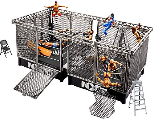 WWE MATTEL NXT Takeover War Games Playset with 2 NXT Rings, 2 Connecting Cages with Breakaway Pieces, 2 Ladders, Chair, Table & More; for Ages 6 Years Old & Up