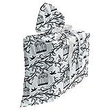 ABAKUHAUS des Oiseaux Sac Cadeau pour Fête Prénatale, Direction de l'arbre Floral, Pochette en Tissu Réutilisable de Fête avec 3 Rubans, 70 x 80 cm, Bleu Noir