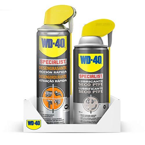 WD-40 Specialist Lote Limpieza & Lubricado - Specialist Desengrasante 500ml + Specialist Lubricante Seco en Spray 400ml - Pack 2 unidades