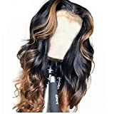 QUINLUX WIGS 150% Density Body Wave Lace Front Human Hair Wigs Ombre Color 1BT30 Glueless Brazilian Human Hair Front Lace Wig With Highlight (16 Inch, Lace front wig)