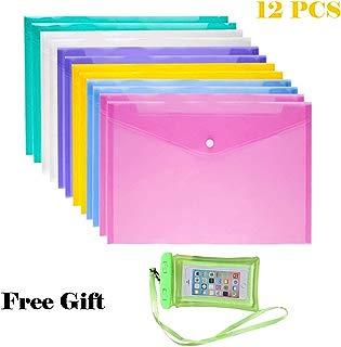 Ispeedytech 12Pcs Plastic EnvelopesPoly Envelope Folder with Snap Button Closure, Premium Quality Plastic Envelopes,Waterproof Transparent Project Envelope Folder, A4 Letter Size in 6 Assorted Colors