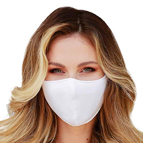 Washable Face Mask with Adjustable Ear Loops & Nose Wire - 3 Layers, Made in USA (Solid White)