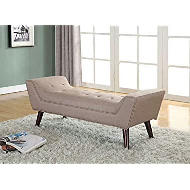 Home Life Curved Foot Bench with Tufted Accents Textured Linen Fabric with Wooden Legs, Brown