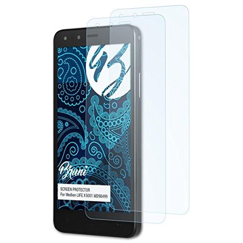 Bruni Schutzfolie kompatibel mit Medion Life X5001 MD98499 Folie, glasklare Bildschirmschutzfolie (2X)